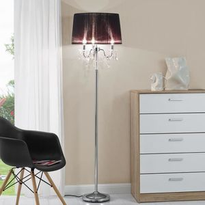 LAMPADAIRE LUX.PRO Lampadaire - Pied chromé + abat-jour noir