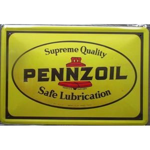 OBJET DÉCORATION MURALE plaque pennzoil oil jaune huile tole deco garage m