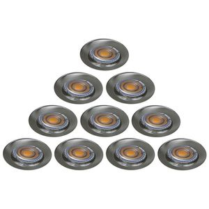 SPOTS - LIGNE DE SPOTS LOT DE 10 SPOT ENCASTRABLE FIXE LED 230V ALU BROSS