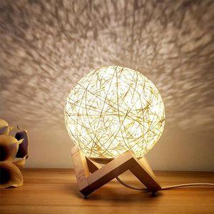 LAMPE A POSER HZDHCLH lampe de chevet en rotin créative USB régl