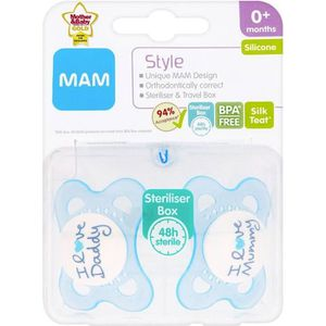 SUCETTE MAM Style 0 + Mois  Sucette (lot de 2) - Boy ( Ble
