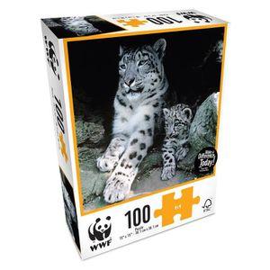 PUZZLE WWF - Puzzle 100 pièces - Animaux: Famille léopard