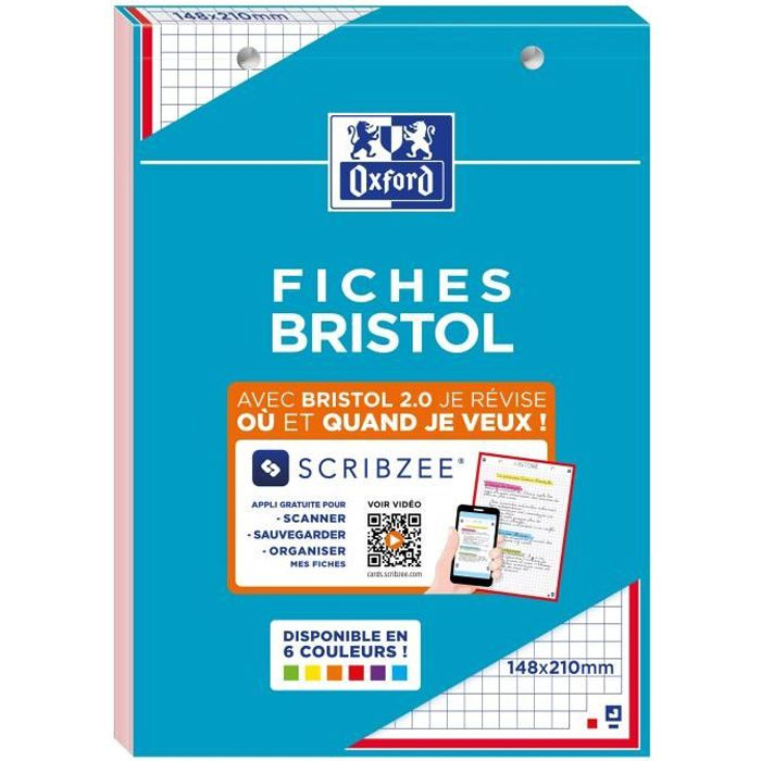 Bloc bristol 2.0 OXFORD rouge perfore 148x210 30fiches 210g q5mm