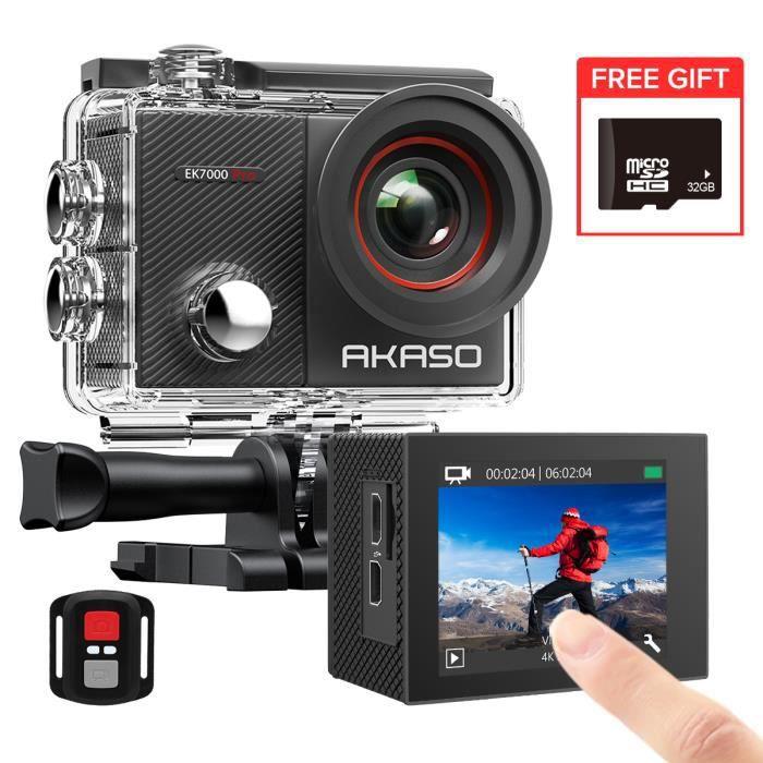 AKASO Caméra Sport EK7000 PRO 4K WiFi Caméra d'action avec Ecran Tactile Ultra HD Caméra 40M Etanche sous-Marine, Kits d'Accessoires