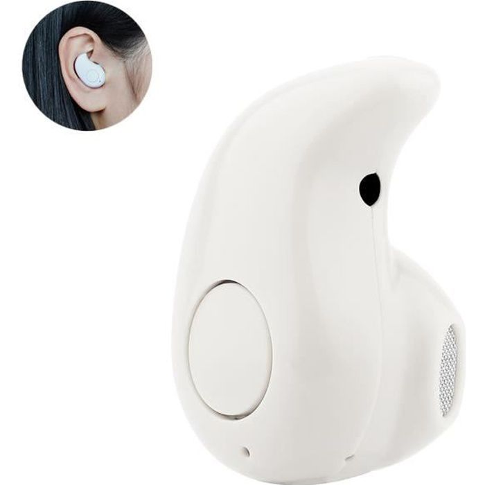 Tera® Mini Oreillette Bluetooth V4,0 invisible sans fil pour samrtphone iPhone Samsung Sony HTC etc.(Blanc)