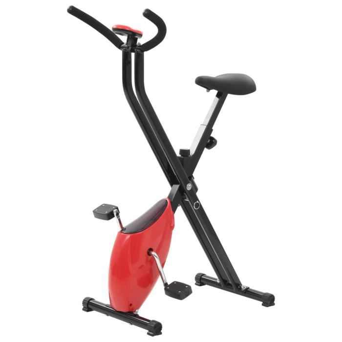 LIZ® Vélo d'appartement X-Bike Resistance à courroie Rouge