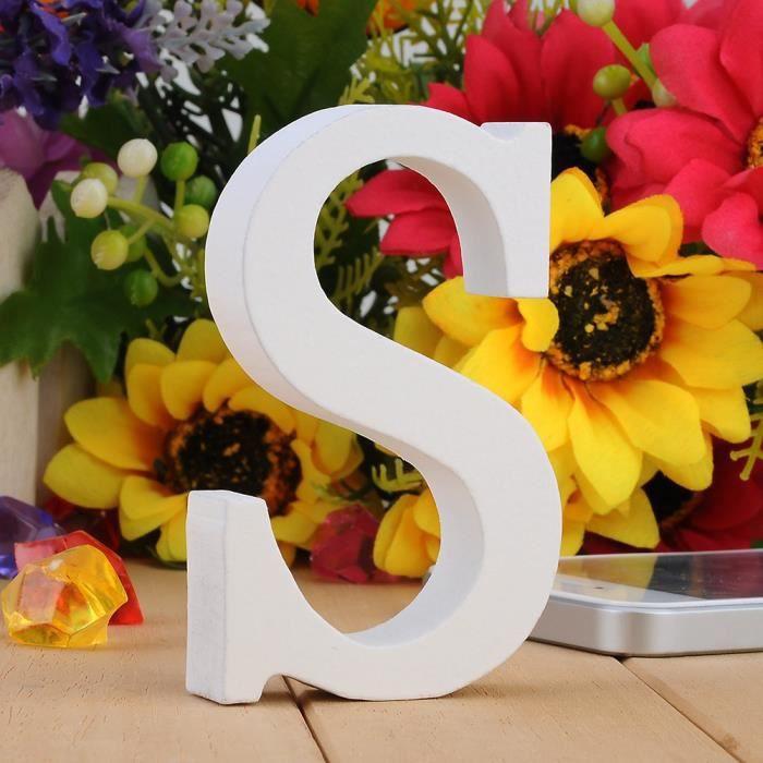 DIY Lettres en Bois Décoration d'anniversaire et Mariage Loisirs Créatifs Alphabet Ornements en Bois-S