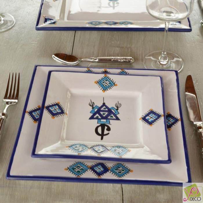 Assiette carrée Sahel bleu - L 19 cm