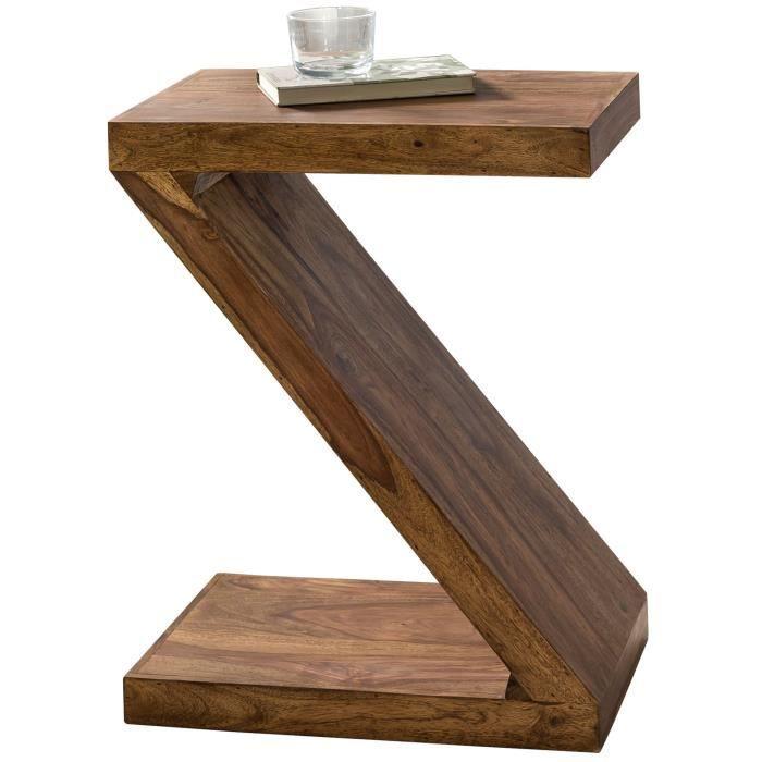 FineBuy Table d'appoint Bois Massif Sheesham 44 x 59 x 30 cm Table Basse Salon - Bout de canapé est - Capacité de Charge par Plaque:
