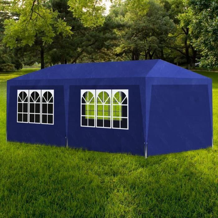 ��7721Haute qualité- Tente Réception Pavillon Tonnelle de jardin - Tente Pavillon Jardin Extérieur Barnum Chapiteau 3 x 6 m Bleu