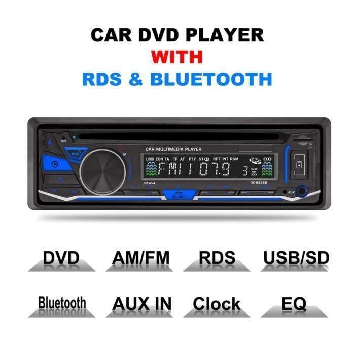 Lecteur Car DVD-CD Player Autoradio Bluetooth FM-AM-RDS Tuner Radio Voiture stéréo Multimedia USB-AUX IN-TF avec telecommande A70077