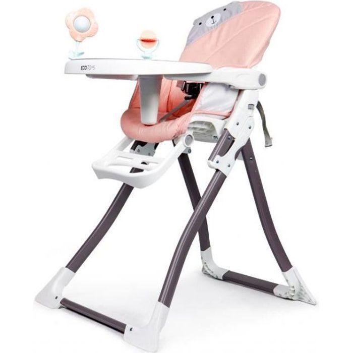 MSTORE - Chaise haute enfant/bébé - 6 À 36 MOIS - Harnais de sécurité à 3 points + Plateau amovible - Pliage simple - Rose