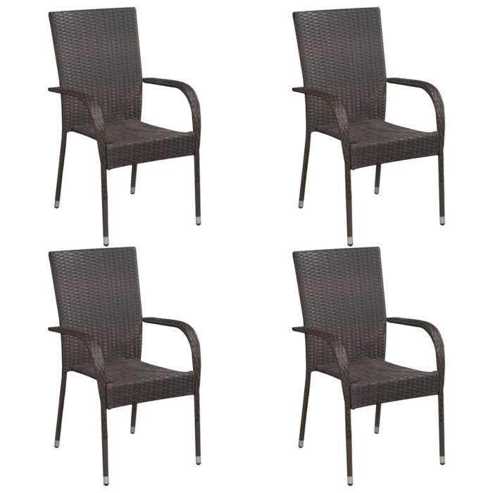 Lot de 4 Chaise de jardin empilables Fauteuil de Jardin Résine tressée Marron Nouveau *827798
