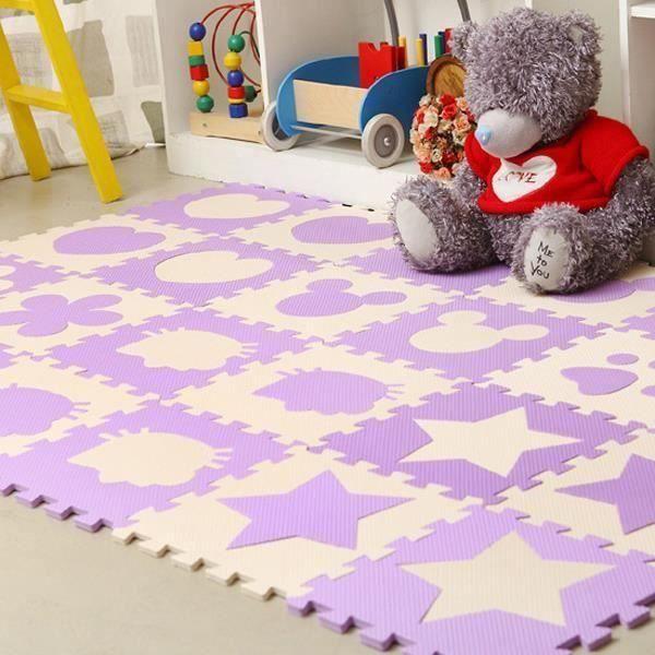 9 Pcs Pourpre Mignon en Mousse EVA Motif Puzzle Ramper Tapis Bébé Jouets Jeux pour Enfants