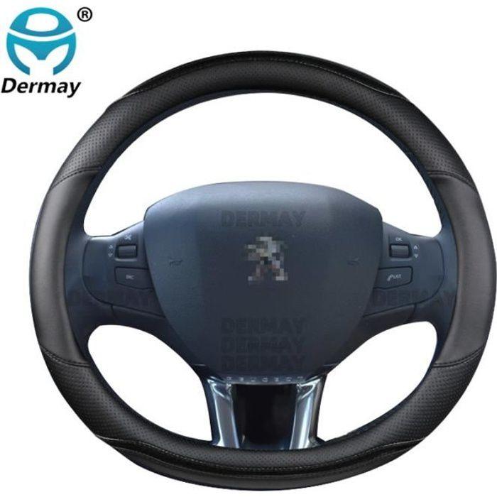 Couvre volant,Pour Peugeot 208 2012 ~ 2018 couverture de volant de voiture en fibre de carbone + cuir haute qualité - Type Black