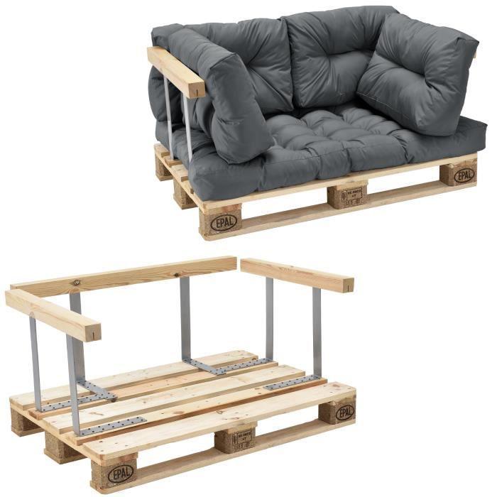Canapé de palette euro- 2-siège avec coussins- [gris brilliant] kit complète incl. dossier et appuie-bras