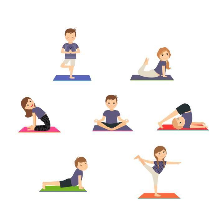 Poster Affiche Yoga Enfants Posture Hatha Yoga Asanas Bien Etre 31cm x 31cm