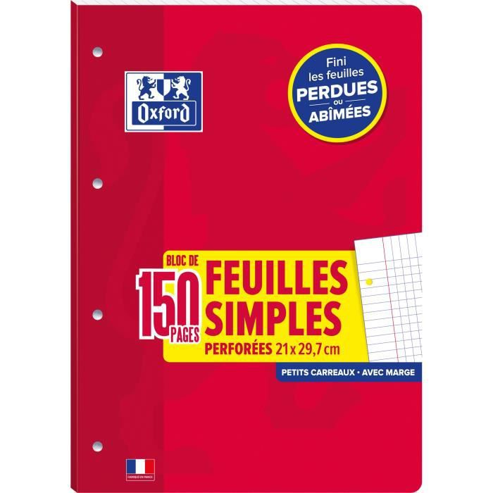 Fm detachables OXFORD school a4 150p 90g perforees 4 trous q5/5+marge