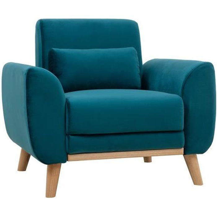 Miliboo - Fauteuil design velours bleu pétrole et bois clair EKTOR