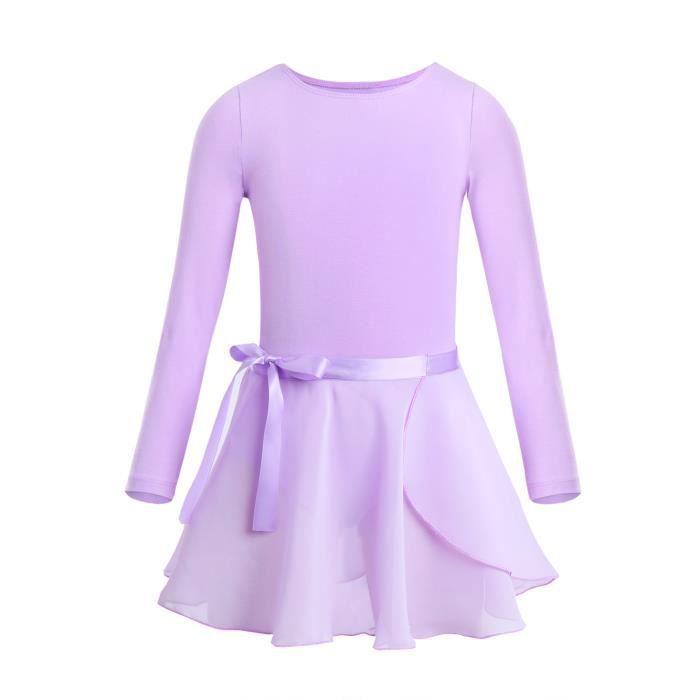 2 Pieces Justaucorps Danse Classique Fille Enfant Mousseline de Soie Leotard 3-14 Ans Violet
