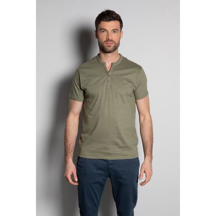 DEELUXE T-shirt uni à col boutonné KALONI Lichen