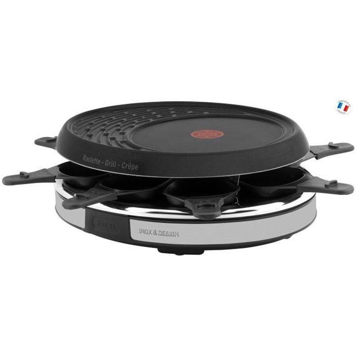TEFAL RE137812 Appareil à raclette Inox&Design 8 personnes - Noir
