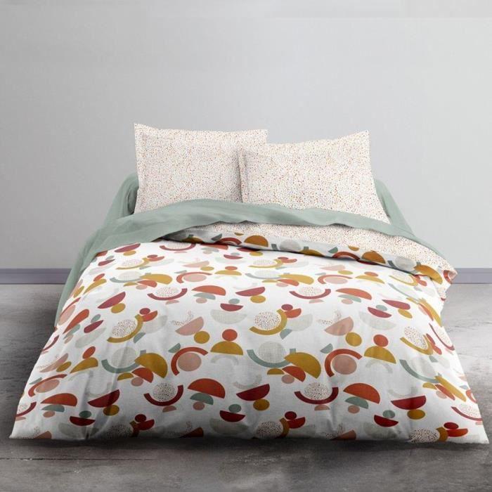 TODAY Parure de lit 2 personnes - 220 x 240 cm - Imprimé orange Graphique CRAZY Luce TODAY