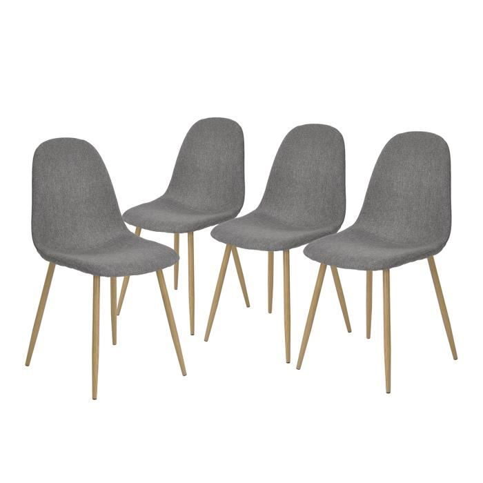 Lot de 4 Chaises de Salle à Manger Style Scandinave en Tissu Gris Pieds en Métal Imitation Bois