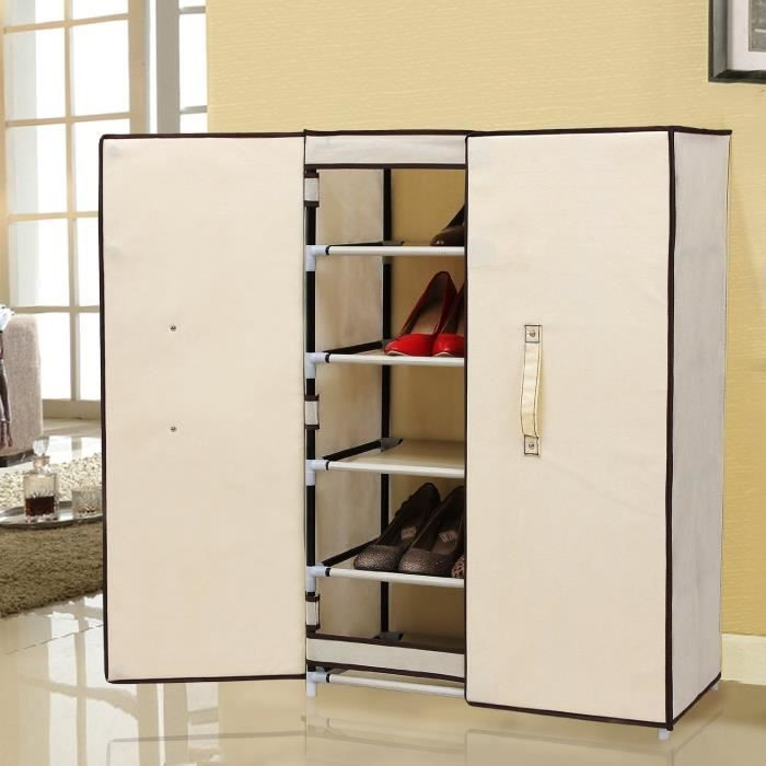 meuble penderie garde robe etagere pour chaussures 61 x 28 x 89 cm beige achat vente. Black Bedroom Furniture Sets. Home Design Ideas