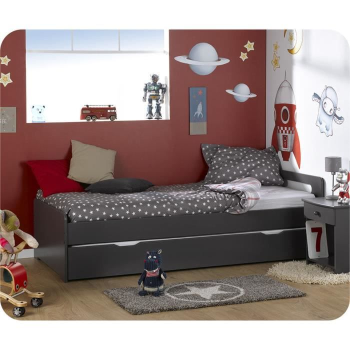 lit gigogne eden gris 90 x 200 cm achat vente lit. Black Bedroom Furniture Sets. Home Design Ideas