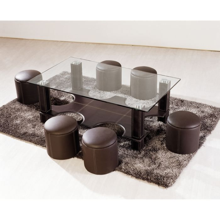 table basse avec 6 poufs galo en verre choc achat vente table basse table basse avec 6. Black Bedroom Furniture Sets. Home Design Ideas