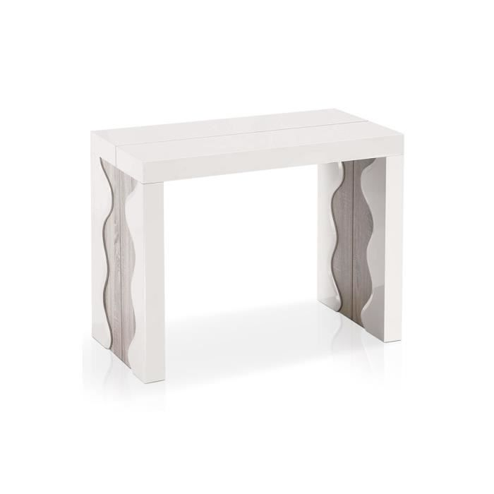 Table console extensible ch ne clair 4 rallonges bois mdf - Table console extensible chene ...