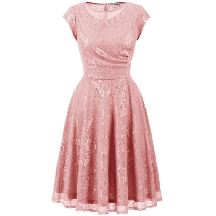 Womens Retro Floral Lace Dress Vintage Cocktail Dress Short Bridesmaid Dress With Sleeves 2HG9U0 Taille-38