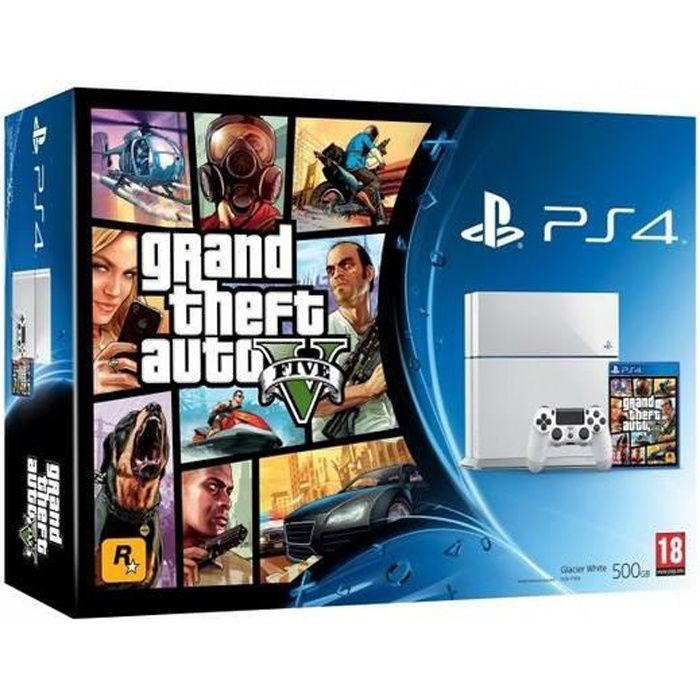 console ps4 500 go blanche gta v jeu ps4 achat vente. Black Bedroom Furniture Sets. Home Design Ideas