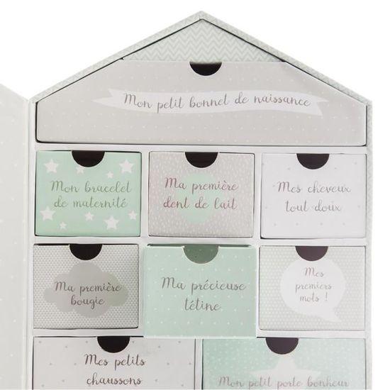 cadre photo Coloris ROSE Forme Maison Coffret de naissance avec boite /à souvenirs