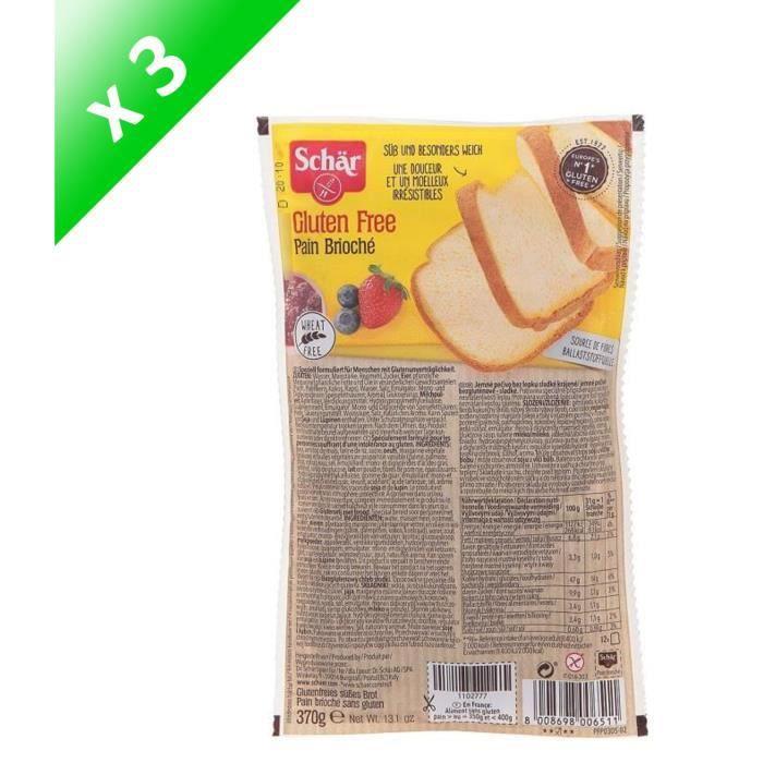 SCHAR Pain Brioché Sans gluten - 370 g x3