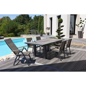 Ensemble table extensible de jardin 160 - 220 cm + 6 ...