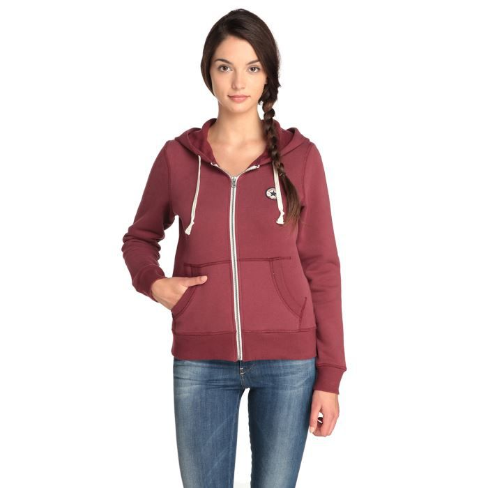 converse sweat zipp capuche femme bordeaux achat vente veste cdiscount. Black Bedroom Furniture Sets. Home Design Ideas