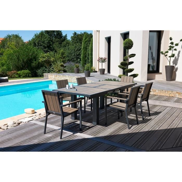 ensemble table de jardin 240 300x100cm en aluminium composite 8 fauteuils gris achat. Black Bedroom Furniture Sets. Home Design Ideas