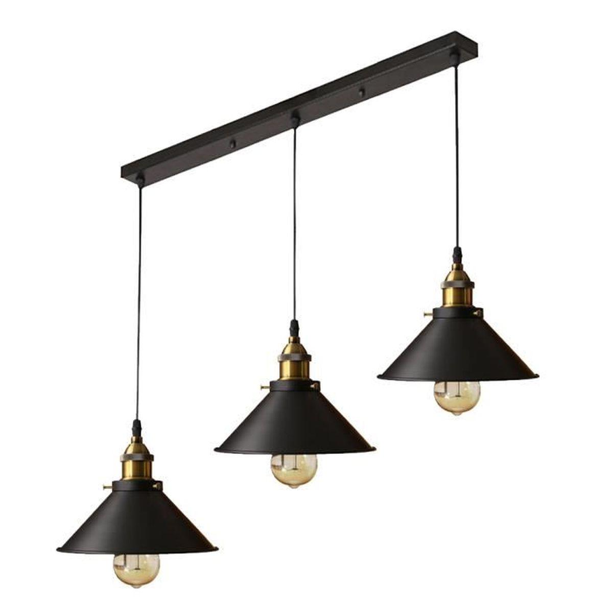 IDEGU Lustre Suspension Industrielle 3 Luminaire 22cm ...