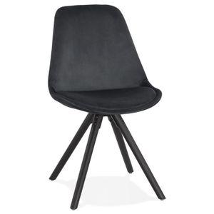 CHAISE Chaise vintage 'RICKY' en velours noir et pieds en