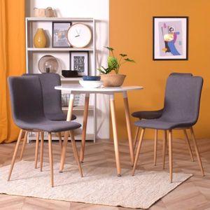 CHAISE Lot de 4 chaises * design scandinave * tissu noir