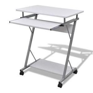 BUREAU  Table de Bureau Blanche pour Ordinateur avec Plate