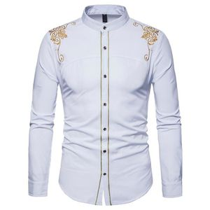 CHEMISE - CHEMISETTE Chemise Homme Col mao Marque Luxe Broderie Chemise