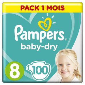 COUCHE PAMPERS BABY-DRY Taille 8 - 100 couches - Pack 1 m