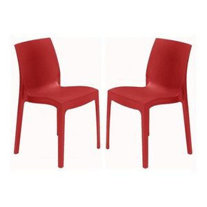 CHAISE Lot de 2 Chaises Design Rouges ILE