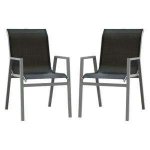FAUTEUIL JARDIN  Chaise de jardin en aluminium Atlantique - Lot de