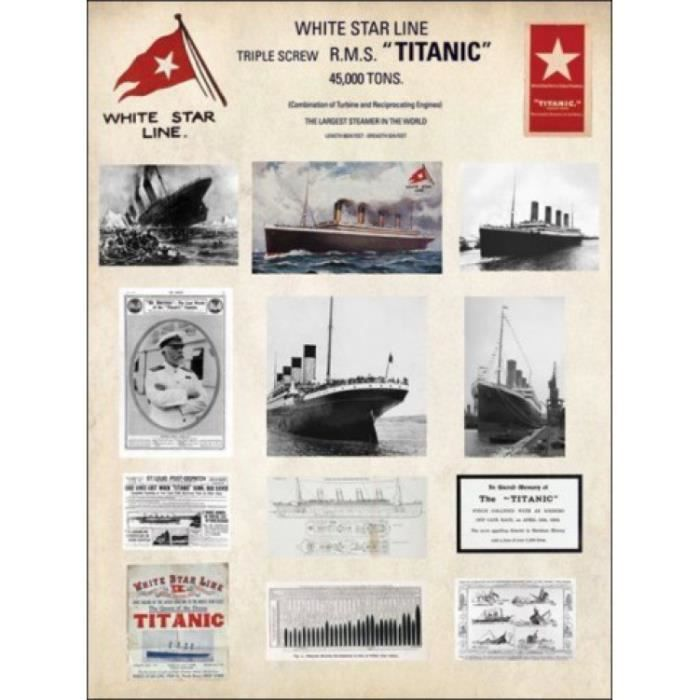 titanic poster reproduction collage en m moire 50 x 40 cm achat vente affiche cdiscount. Black Bedroom Furniture Sets. Home Design Ideas