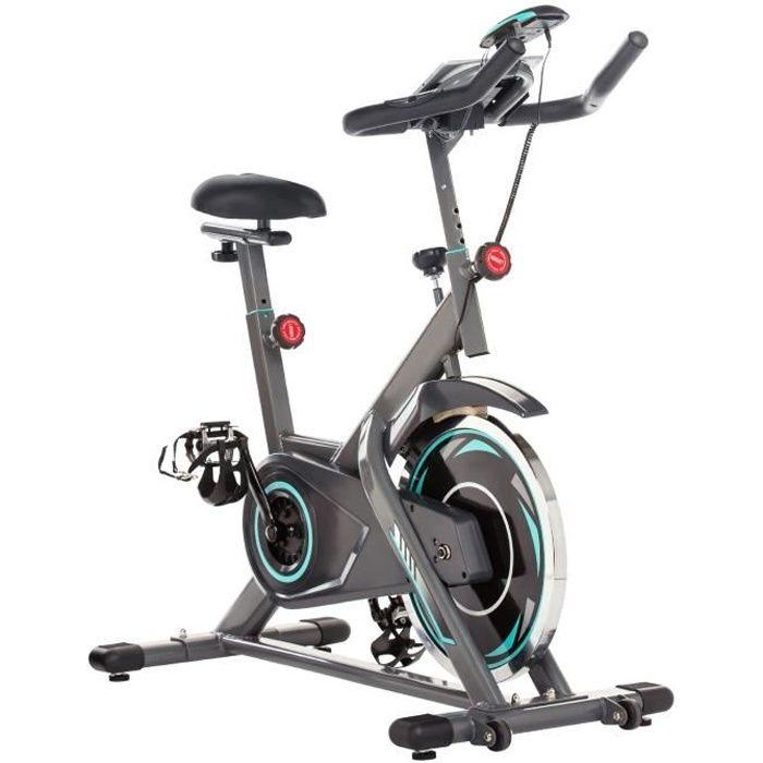 Vélo d'Appartement à l'Intérieur Vélo Biking Fitness Résistance Ajustable Écran LCD Charge Maximale 150kg Roue Inertie13kg-Gris