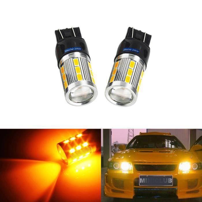 2x 7440 7443 T20 W21W W21/5W LED Ampoules 21 SMD Orange Veilleuses Clignotant Feux de indicateurs Lampe